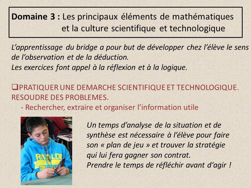 Domaine 3 : Les principaux éléments de mathématiques