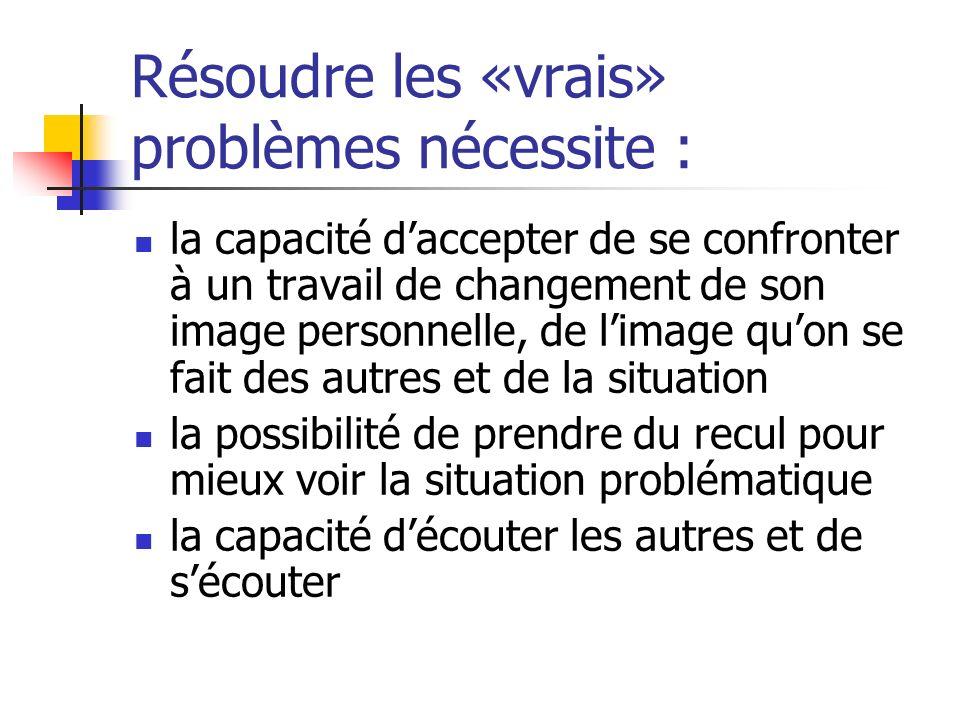 Résoudre les «vrais» problèmes nécessite :