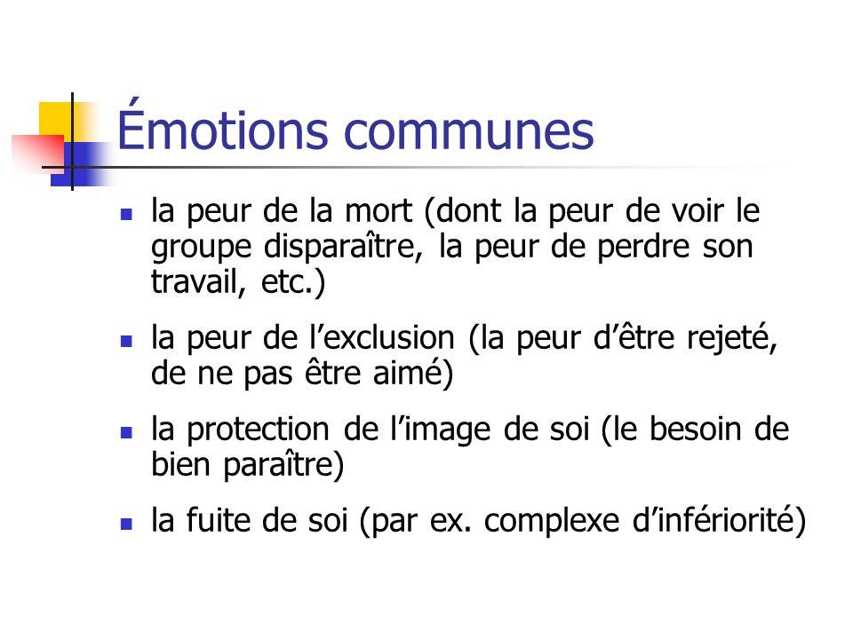 Émotions communes la peur de la mort (dont la peur de voir le groupe disparaître, la peur de perdre son travail, etc.)