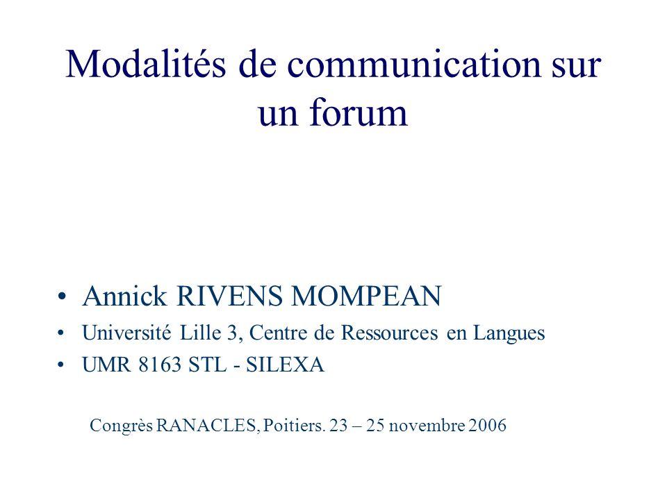 Modalités de communication sur un forum