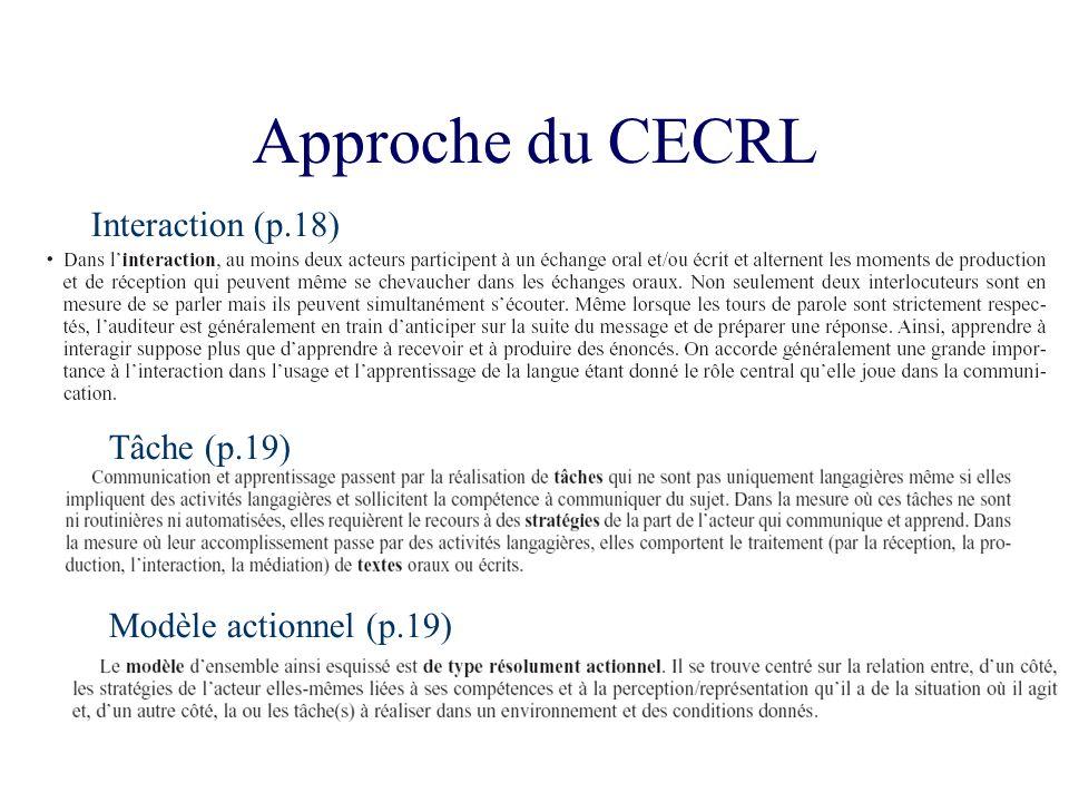 Approche du CECRL Interaction (p.18) Tâche (p.19)