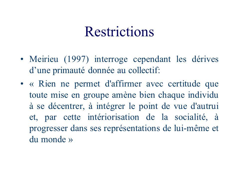Restrictions Meirieu (1997) interroge cependant les dérives d'une primauté donnée au collectif: