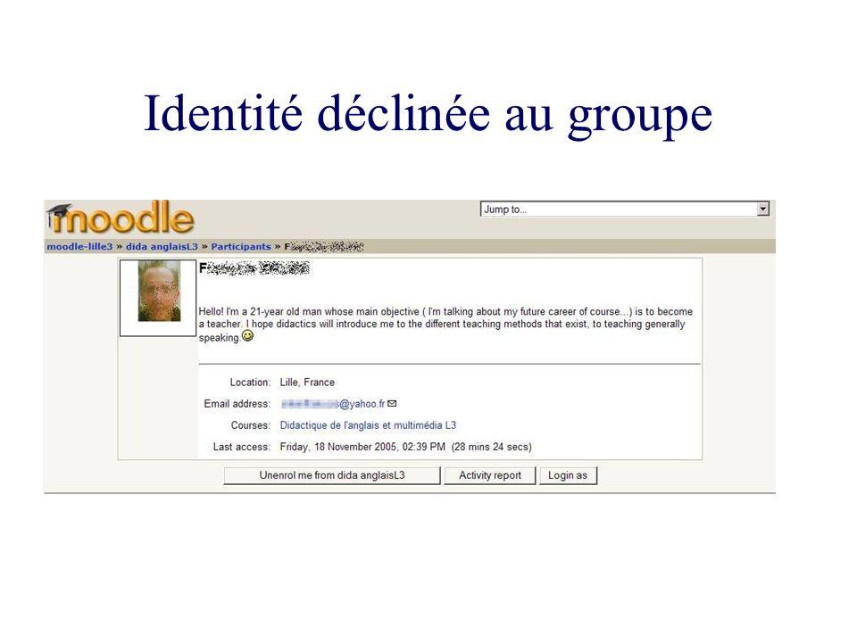 Identité déclinée au groupe