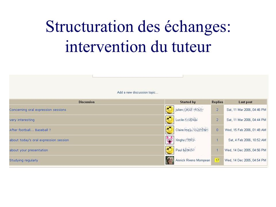 Structuration des échanges: intervention du tuteur