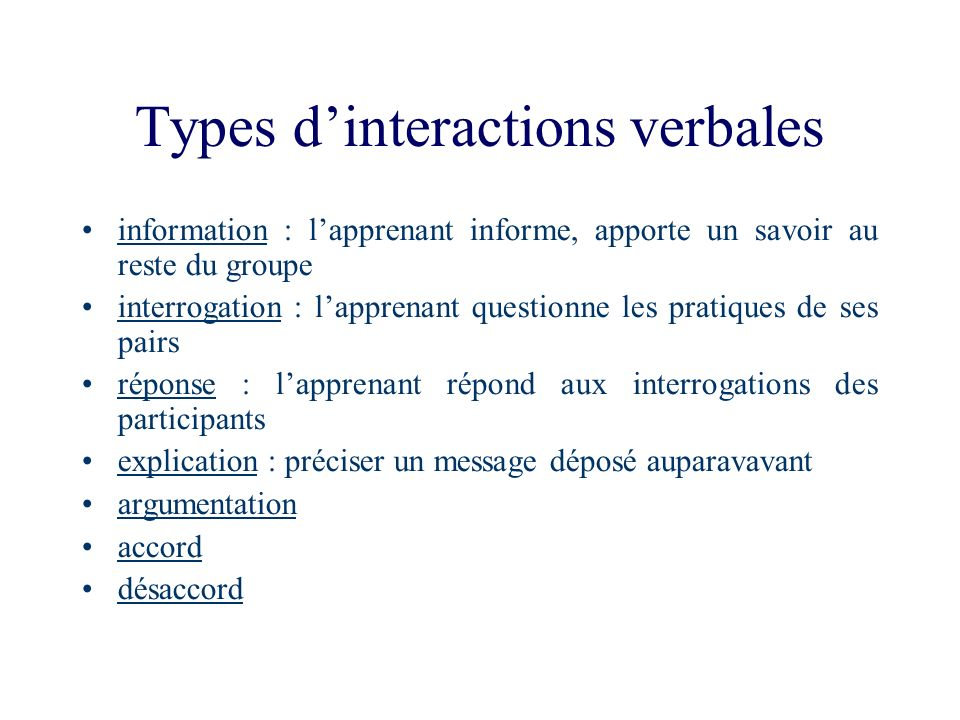 Types d'interactions verbales