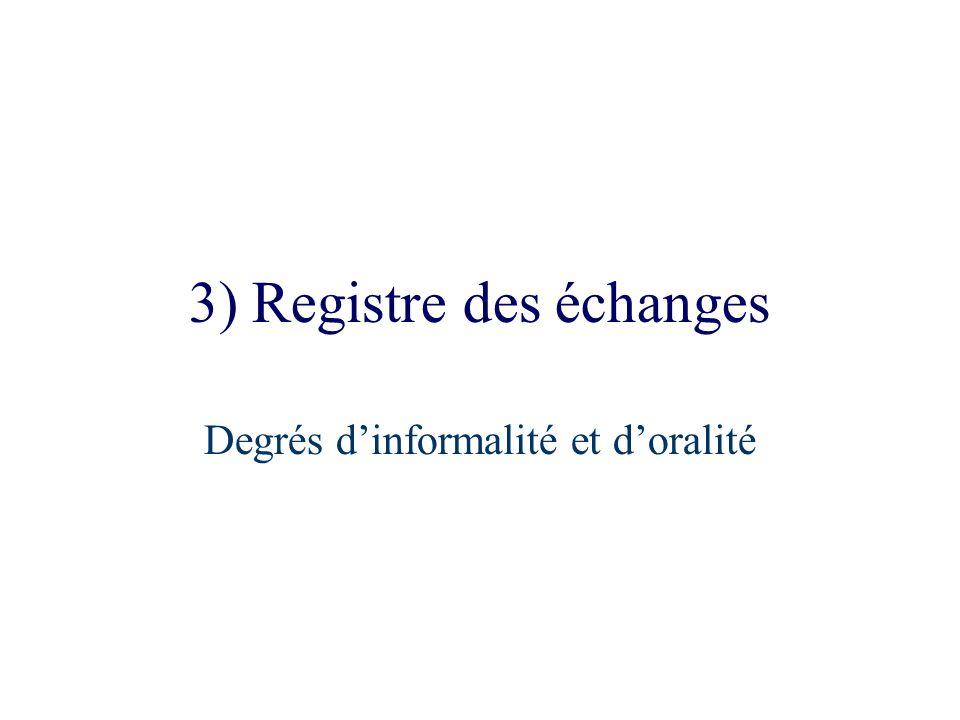 3) Registre des échanges