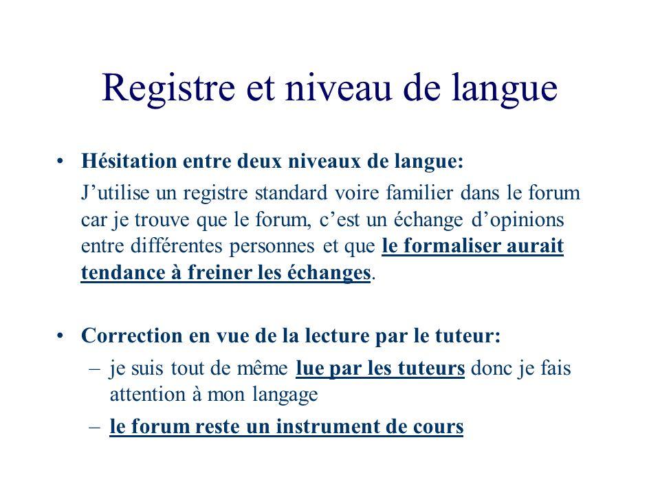 Registre et niveau de langue