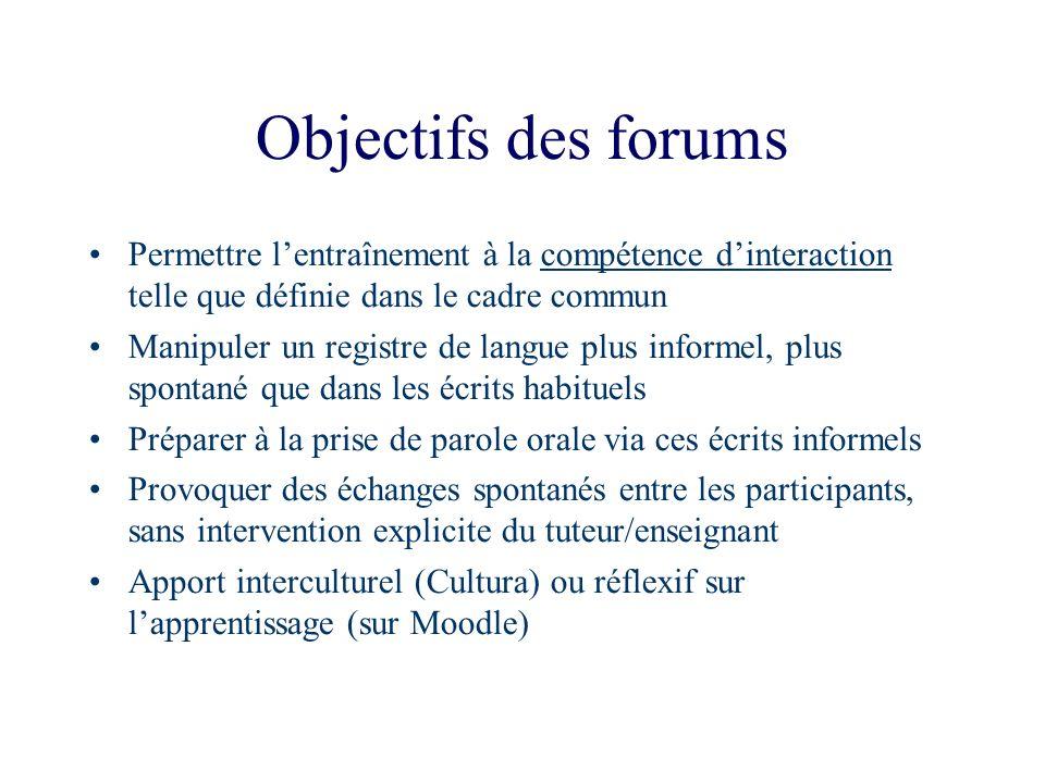 Objectifs des forums Permettre l'entraînement à la compétence d'interaction telle que définie dans le cadre commun.