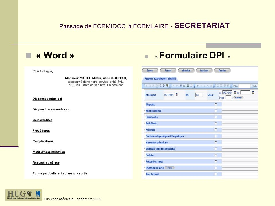 Passage de FORMIDOC à FORMLAIRE - SECRETARIAT