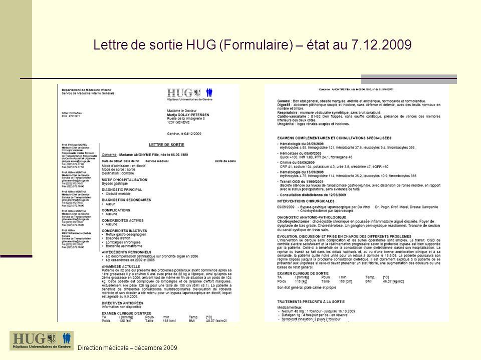 Lettre de sortie HUG (Formulaire) – état au 7.12.2009