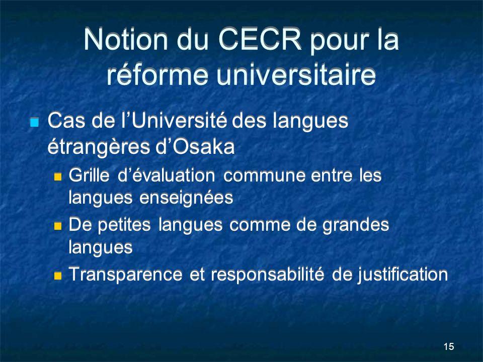 Notion du CECR pour la réforme universitaire