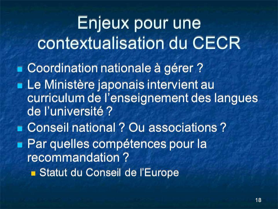 Enjeux pour une contextualisation du CECR