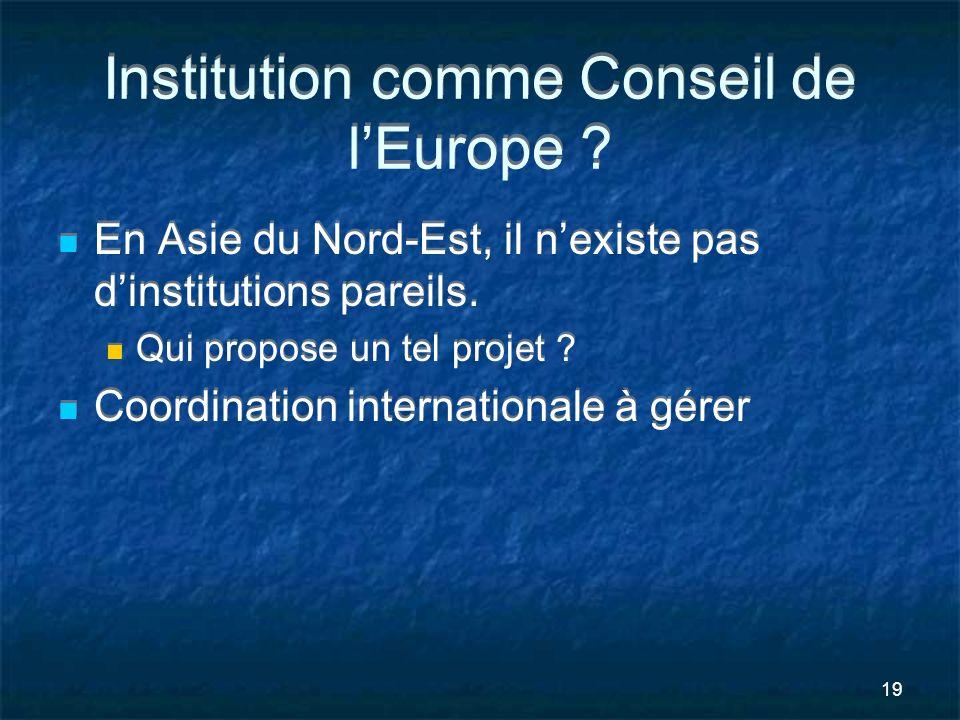 Institution comme Conseil de l'Europe