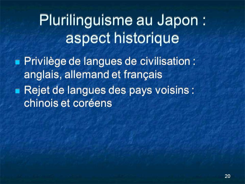 Plurilinguisme au Japon : aspect historique