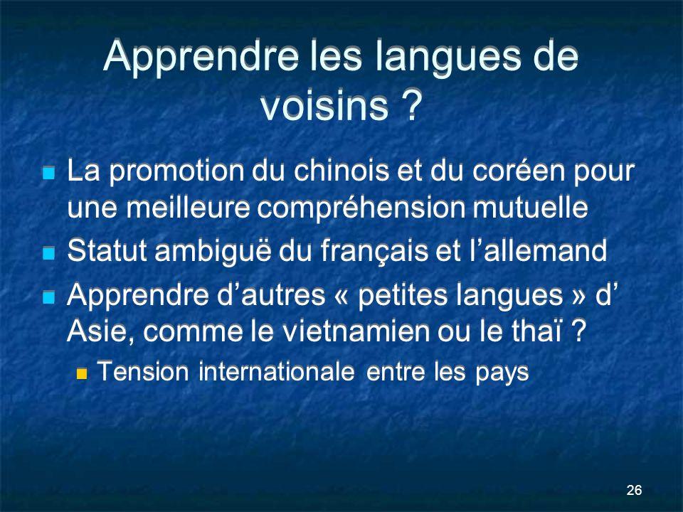 Apprendre les langues de voisins
