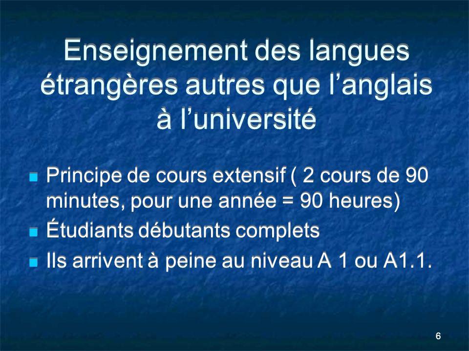 Enseignement des langues étrangères autres que l'anglais à l'université