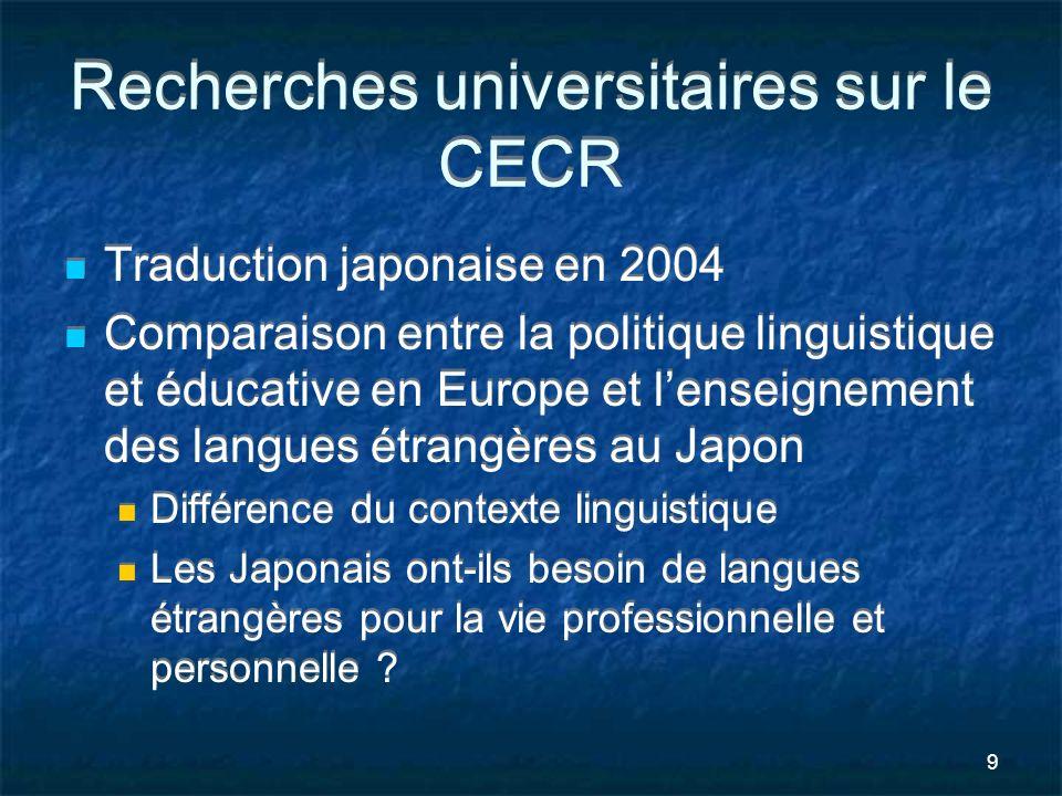 Recherches universitaires sur le CECR