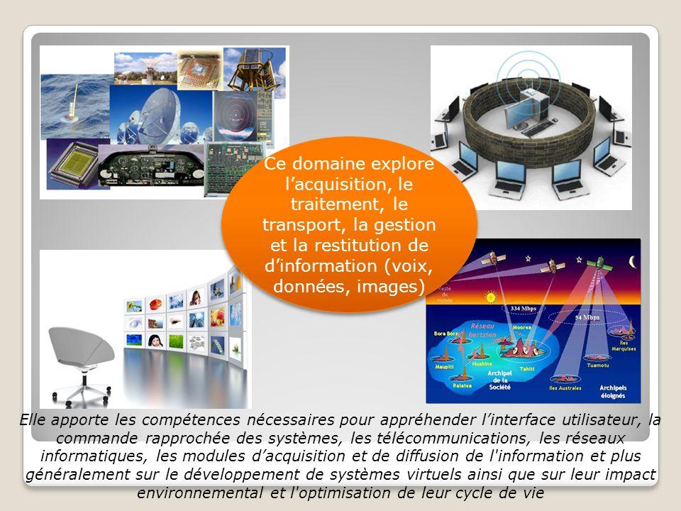 Ce domaine explore l'acquisition, le traitement, le transport, la gestion et la restitution de d'information (voix, données, images)