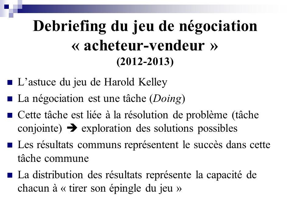 Debriefing du jeu de négociation « acheteur-vendeur » (2012-2013)