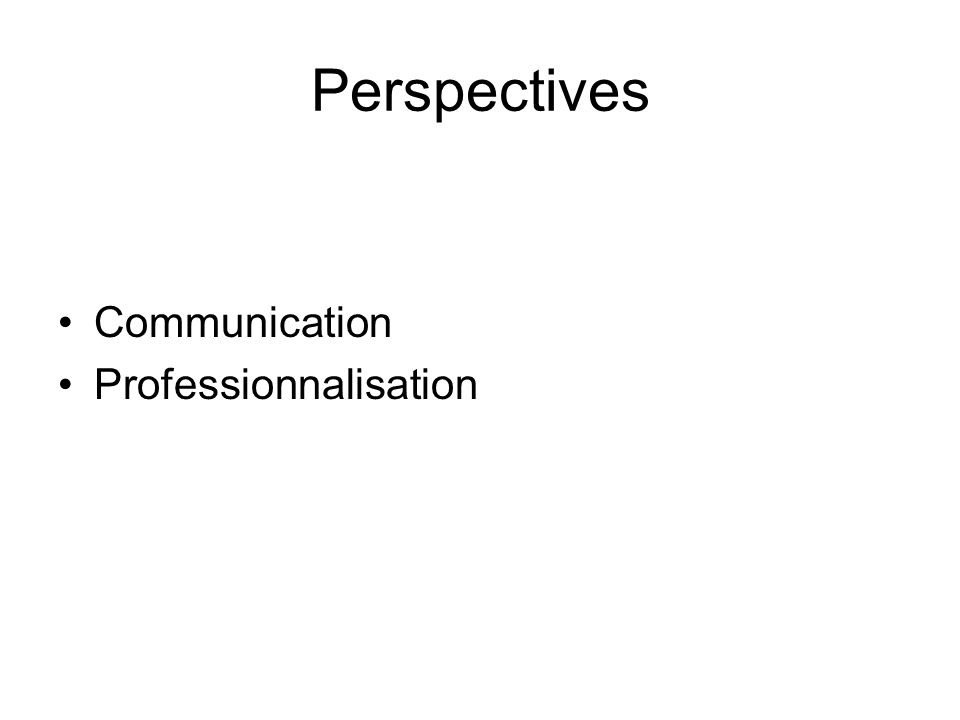 Perspectives Communication Professionnalisation