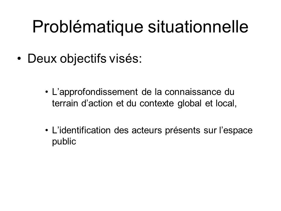 Problématique situationnelle