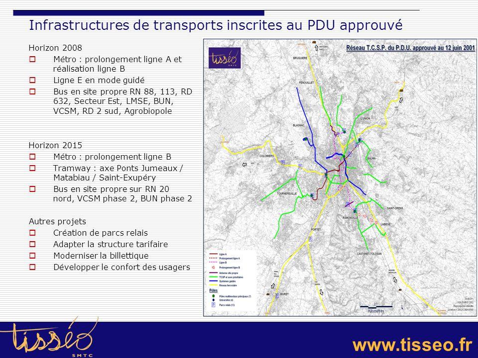 Infrastructures de transports inscrites au PDU approuvé