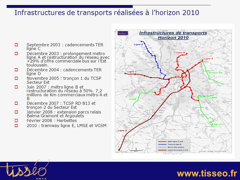 Infrastructures de transports réalisées à l'horizon 2010