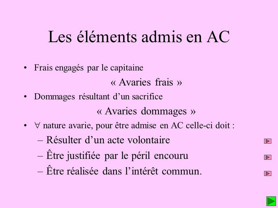 Les éléments admis en AC