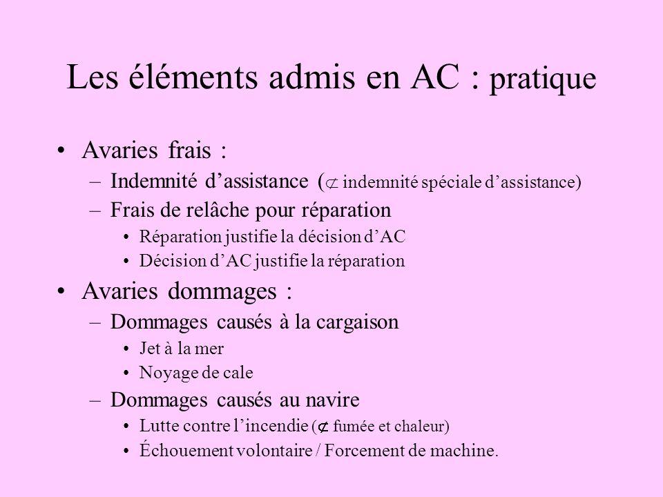 Les éléments admis en AC : pratique