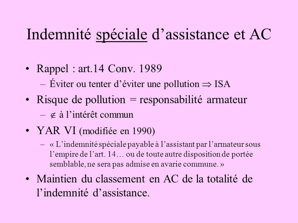 Indemnité spéciale d'assistance et AC