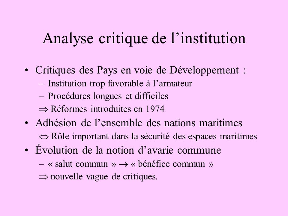 Analyse critique de l'institution