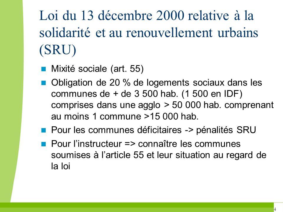 Loi du 13 décembre 2000 relative à la solidarité et au renouvellement urbains (SRU)