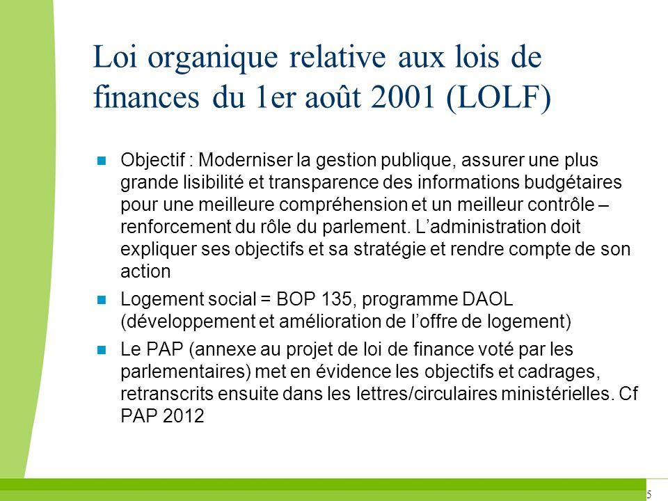 Loi organique relative aux lois de finances du 1er août 2001 (LOLF)