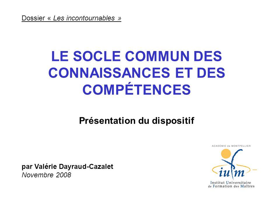 LE SOCLE COMMUN DES CONNAISSANCES ET DES COMPÉTENCES