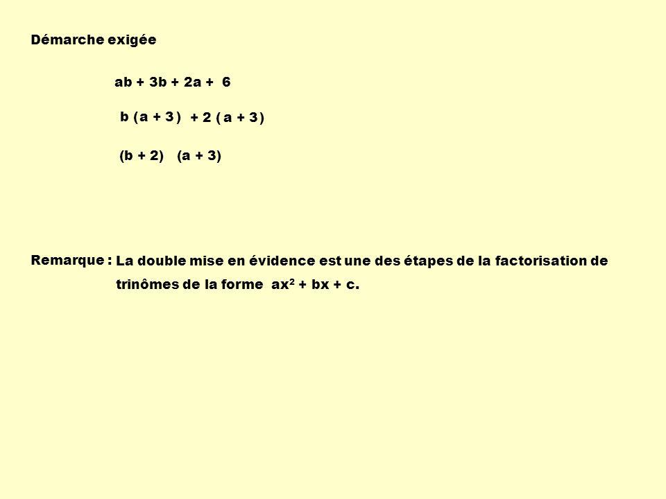 Démarche exigée ab + 3b + 2a + 6. b ( ) a + 3. + 2 ( ) a + 3. (b + 2) (a + 3)