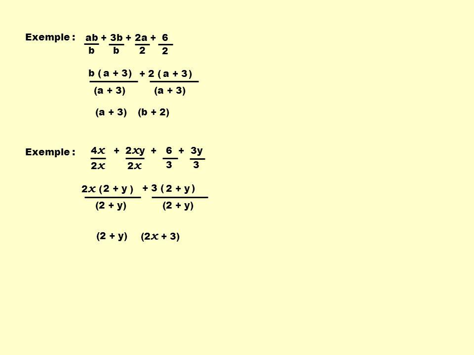 Exemple : ab + 3b + 2a + 6. b. 2. b ( ) a + 3. + 2 ( ) a + 3. (a + 3) (a + 3)