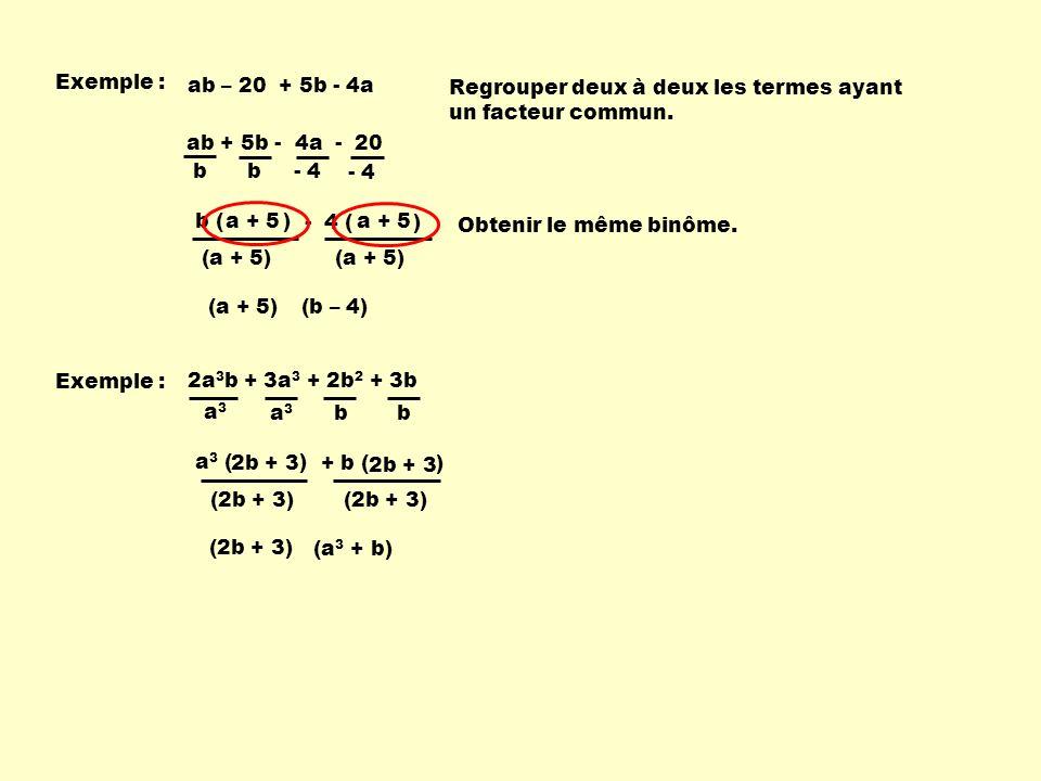Exemple : ab – 20 + 5b - 4a. Regrouper deux à deux les termes ayant. un facteur commun. ab + 5b - 4a - 20.