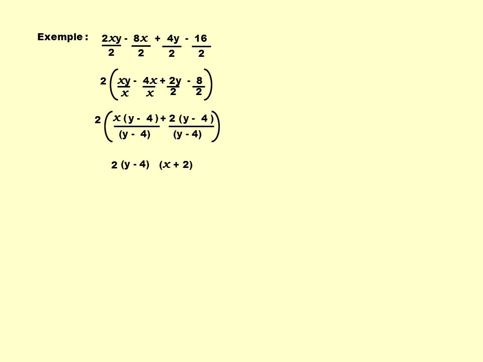 xy - 4x + 2y - 8 x x ( ) Exemple : 2xy - 8x + 4y - 16 2 2 2 2 y - 4