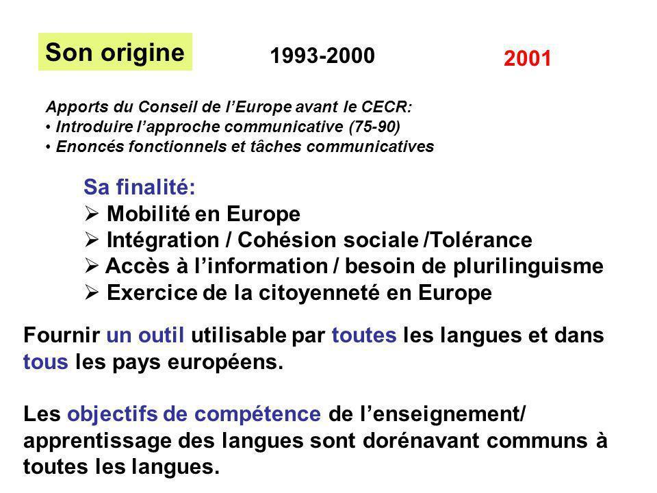 Son origine 1993-2000 2001 Sa finalité: Mobilité en Europe