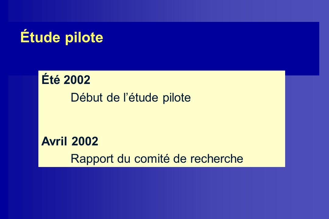 Étude pilote Été 2002 Début de l'étude pilote Avril 2002