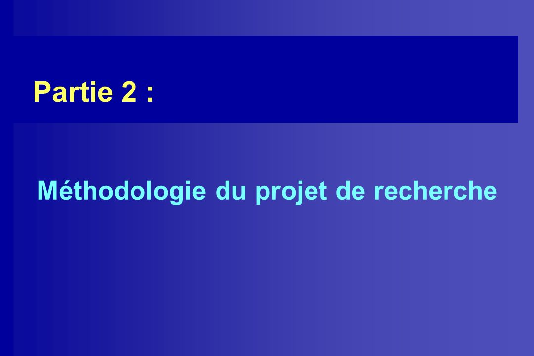 Méthodologie du projet de recherche