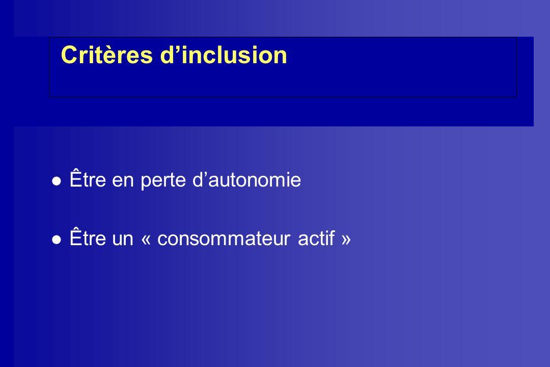 Critères d'inclusion Être en perte d'autonomie