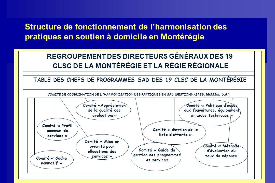 Structure de fonctionnement de l'harmonisation des pratiques en soutien à domicile en Montérégie