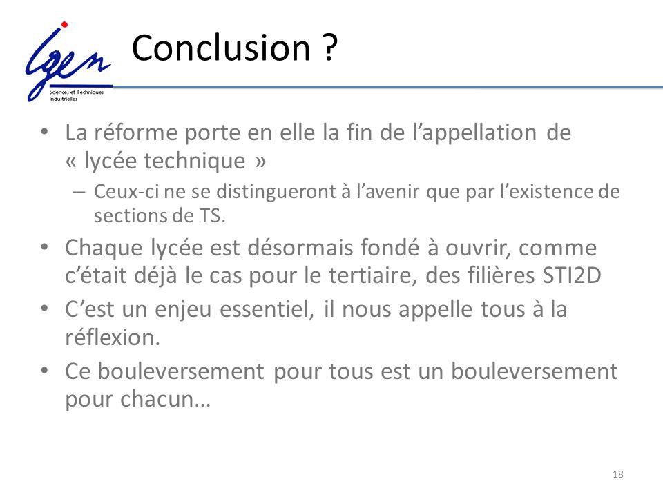Conclusion La réforme porte en elle la fin de l'appellation de « lycée technique »