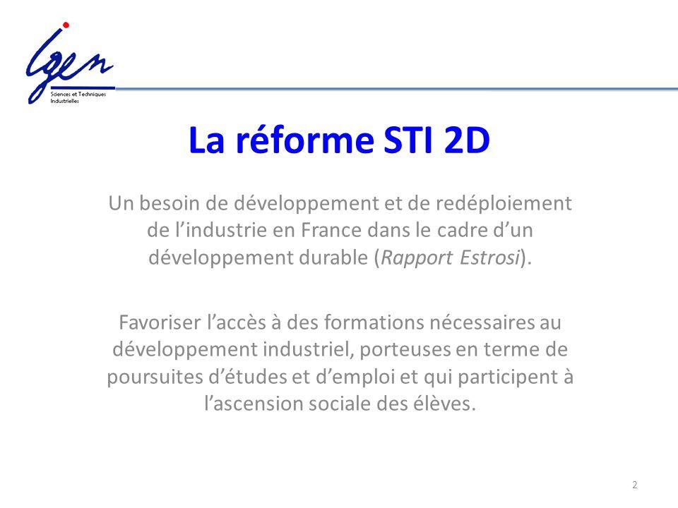 La réforme STI 2D Un besoin de développement et de redéploiement de l'industrie en France dans le cadre d'un développement durable (Rapport Estrosi).
