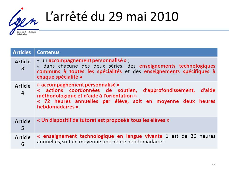L'arrêté du 29 mai 2010 Articles Contenus Article 3
