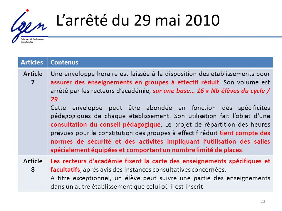L'arrêté du 29 mai 2010 Articles Contenus Article 7