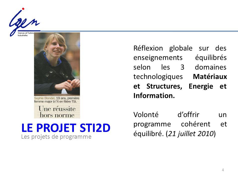 Réflexion globale sur des enseignements équilibrés selon les 3 domaines technologiques Matériaux et Structures, Energie et Information.