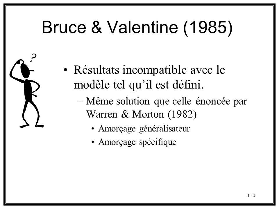 Bruce & Valentine (1985) Résultats incompatible avec le modèle tel qu'il est défini. Même solution que celle énoncée par Warren & Morton (1982)