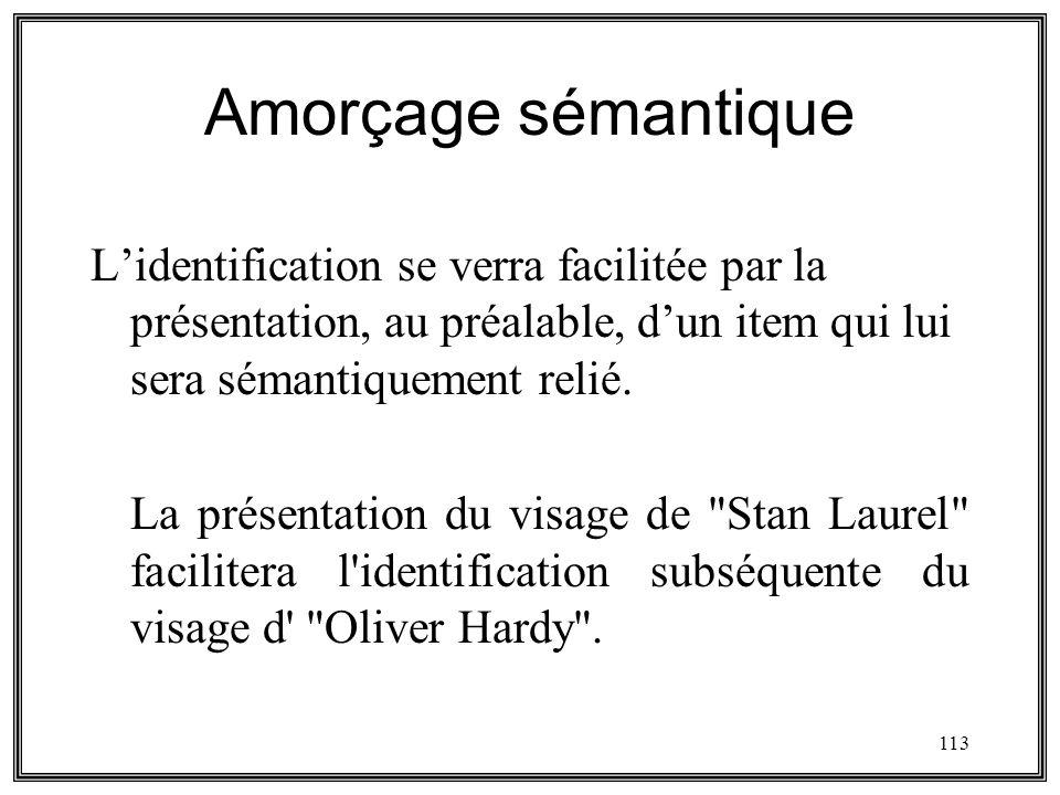 Amorçage sémantique L'identification se verra facilitée par la présentation, au préalable, d'un item qui lui sera sémantiquement relié.